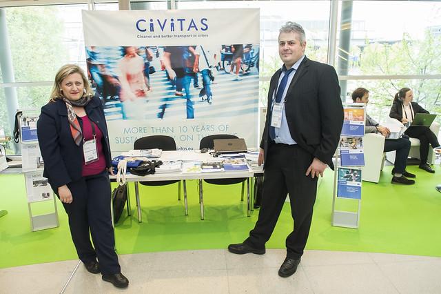Akrivi Kiousi and Charalampos Ipektsidis at the Civitas stand