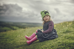 Fabulous Darling! (EXPLORE 24/5/16) Thanks for visiting, favouriting or commenting - always appreciated. (markfly1) Tags: pink flowers portrait green girl field hat yellow clouds children 50mm nikon child cloudy hill d750 shallow wellies depth