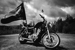 4 (Zemtsova Anastasia) Tags: sky blackandwhite nature bike contrast power flag motorcycle motor bikers volume sharpness