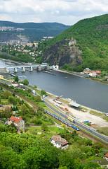 st nad Labem (Tom Markovi) Tags: city blue house castle water architecture river town republic czech country transport land elbe nad usti labe labem strekov aussig