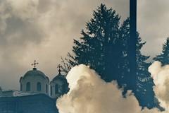 (AirSonka) Tags: tree film church clouds analog 35mm pentax doubleexposure bulgaria analogue pentaxmz7 pelcula filmphotography pellicule kodakgold200 airsonka doppelbelichtung   lukovit    soniakaniss