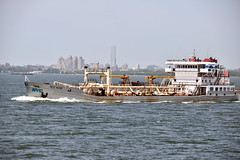 Picture Taken From The Staten Island Ferry Of The Red Hook A Sludge Vessel. The Red Hook Is A State Of the Art Tanker Responsible For Transporting Sludge Within The New York City Harbor. Photo Taken Monday June 27, 2016 (ses7) Tags: ferry island view staten