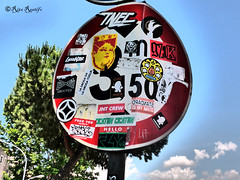 Roma. San Paolo. Street art-sticker art by JBRock, KRules, TNEC, 5toker, Master Blaster Crew, gZIK, TadhBoy, Fishes Invasion, Standard574, Ostia Male, Fist2Face, JNT crew and... (R come Rit@) Tags: italia italy roma rome ritarestifo photography streetphotography streetart arte art arteurbana streetartphotography urbanart urban wall walls wallart graffiti graff graffitiart muro muri streetartroma streetartrome romestreetart romastreetart graffitiroma graffitirome romegraffiti romeurbanart urbanartroma streetartitaly italystreetart contemporaryart artecontemporanea sanpaolo sticker stickerart stickerbomb stickervandal slapart label labels adesivi signscommunication roadsign segnalistradali signposts trafficsignals jbrock krules tnec 5toker gzik tadhboy fishesinvasion standard574 ostiamale fist2face jntcrew masterblastercrew