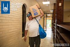 IRUSA's Ramadan food box distribution at Dar Al Hijrah in Virginia.