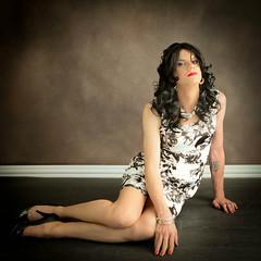 Black and White Floral Dress 2 (Hannah McKnight) Tags: tgirl transgender transgirl model crossdress crossdresser stilettos