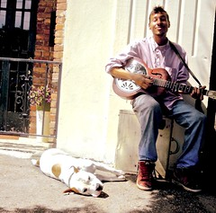 a lazy delta day w. dog ` watch: (Shein Die) Tags: dog guitar candid streetphotography delta streetscene clarksdale