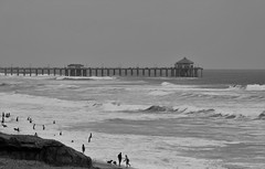 Huntington Beach (michaelelrod) Tags: ocean california travel sea blackandwhite bw seascape beach monochrome canon photography pier photo sand travels waves huntington picture pic socal oceans orangecounty dslr oc travelphotography canonphotography californiaphotography dslrphotography