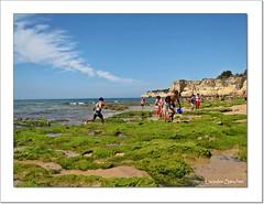 Playa de El Algarve - Portugal (Lourdes S.C.) Tags: costa portugal personas cielo nubes playas rocas algas elalgarve