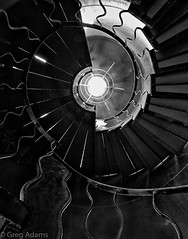 Spiral (Greg Adams Photography) Tags: staircase stairs spiral circle geometry building architecture swirl bw blackandwhite layers vermont indoors hhsc2000 summer 2016 travels rail railing steps floors escher