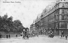 Grosvenor Place (Leonard Bentley) Tags: grosvenorplace halkinstreet hydeparkcorner buckinghampalacegardenswalllower horsedrawnbuses gardenseat victoriastation cannonrow london uk 1904 topdeck