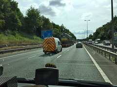 Class 26 D5310 - Tuesday 26th July 2016 (Paul.Bevan) Tags: trainsontrucks lorries allelysheavyhaulage m40 motorway traintransportation dieselloco classic vintage britishrail class26 d5310 greatcentralrailway scottish highland operations stgo cat3 mercedessprinter ontheroad cabview interestingthingsseenontheroad train lowloader br heritage green escortvehicle heavyload haulage transport specialistjob trainspotting bx06xzy fordtransit motorwaytraffic guardrail crashbarrier streetlamp lighting furniture