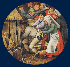 The drunkard pushed into the pigsty (petrus.agricola) Tags: pieter bruegel younger proverbs flemish netherlandish painting tondo