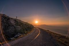 Destination sun (Vagelis Pikoulas) Tags: sun sunset view landscape street road kithairwnas kithaironas vilia mountains canon 6d tokina 1628mm sky blue sunburst sunshine