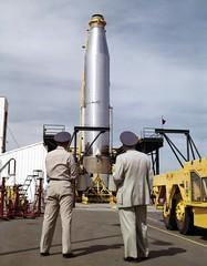 Atlas 10C, Launcher Test-------3-20-59; caption: 10C launcher test, AF group near erected base, 3-20-59 (San Diego Air & Space Museum Archives) Tags: atlas atlasmissile atlas10c