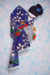 Japanese origami doll 11 (tengds) Tags: flowers blue red asian japanese kimono obi darkblue papercraft japanesepaper washi ningyo handmadepaper chiyogami yuzenwashi japanesepaperdoll nailsticker washidoll origamidoll kimonodoll nailartsticker tengds