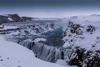 Gulfoss!  The spectacular Gulfoss waterfall in winter plumage!