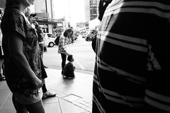 (Indokiwi) Tags: city streets walking photography blackwhite kid fuji random scene auckland tired nz everyday