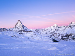 Matterhorn Switzerland (GatitaMala02) Tags: pink blue winter sunset mountain snow ice berg switzerland view glacier matterhorn
