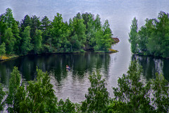 Secret fishing place (STTH64) Tags: trees lake holiday water girl forest finland boat high fishing women midsummer view secret spot blond tampere pyynikki hdr juhannus pentaxk1
