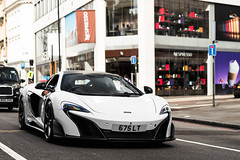 A rather fitting numberplate (Callum Bough) Tags: auto road street trees sun white london cars sports car nikon automobile driving shadows outdoor automotive mclaren d750 vehicle autos carbon supercar v8 supercars 675lt