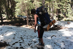 Time for some snow hiking (rozoneill) Tags: sky lake cold liza rock creek forest river spring elizabeth lakes fremont trail national wilderness rogue siskiyou winema trailhead isherwood notasha