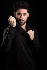 Sergio I (Andr Delhaye) Tags: studio photoshoot male malemodel handsome black noir expression