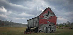 Leaning Barn_X30_Color (Bob G. Bell) Tags: sky abandoned clouds barn rural kentucky ky fujifilm x30 benton leaningbarn bobbell