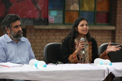 Panel discussion on Memory and Reconciliation, with journalist Hartosh Singh Bal and lawyer Warisha Farasat, with Prof Vijapur of Dept of Political Science, AMU (TwoCircles.net) Tags: email