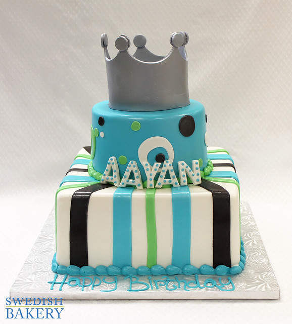 Stripes, Dots and Crown Celebration Cake