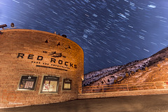red rocks entrance (lockechrisj) Tags: longexposure nightphotography light red sky night canon stars photography star colorado rocks long exposure trails redrocks nightsky amphitheater sequence startrails 6d redrocksamphitheater nightimage canon6d lightpainters lazyshutters