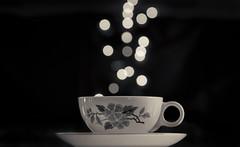 Bokeh Tea 071/365 (Watermarq Design) Tags: blackandwhite dof tea bokeh teacup teatime funwithlights 365project bokehthursday hmbt