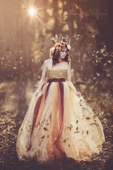 Dance of the Leaves (Propelsthemoon) Tags: autumn red portrait woman canada fall nature fashion lady canon book model whimsy princess bokeh magic royal makeup 85mm queen fantasy cover flare editorial crown 12 magical tutu whimsical headdress canon5dmarkiii