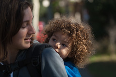 contact (heavysoulclick) Tags: california park city urban woman color love mom oakland kid eyes dof child bokeh mother meeting communication parent together lakemerritt softfocus eastbay contact touching oof