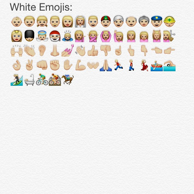 All the white emojis in iOS 8.3 #newemojis
