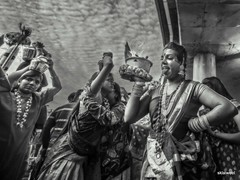 Thaipusam in Malaysia (sklaiweel) Tags: portrait blackandwhite bw black monochrome festival canon women indian pray ceremony celebration caves malaysia wish thaipusam 6d btcaves canon6d