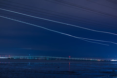 under the ils approach (pbo31) Tags: california above longexposure bridge blue motion color night dark bay march airport nikon pattern sfo flight over landing bayarea approach sanmateo sanmateobridge d800 sanmateocounty sanfranciscointernational 2015 lightstream boury pbo31