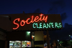Society Cleaners Sign (Phillip Pessar) Tags: sign night calle neon cleaners ocho society