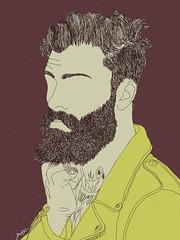 levi stocke (dawd) Tags: man male men art illustration beard model arte drawing style modelo levi british illustrator draw hairstyle ilustrao barba barbe tats stocke dwwid