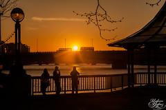 London Buses (Umbreen Hafeez) Tags: life city uk bridge sunset england people sun bus london buses silhouette thames backlight river golden pagoda europe cityscape hour gb backlit backlighting
