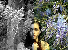 Nature (Camilla D'Angelo) Tags: flowers woman selfportrait love nature colors nude blackwhite spring eyes natura april pick twoparts