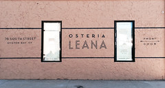Sign painting for the restaurant, Osteria Leana (Oyster Bay, NY) (Seamus Liam O'Brien) Tags: new york nyc ny art lines sign brooklyn painting bay italian mural paint artist painted text seamus surface advertisement liam obrien painter signage font lettering rough oyster stucco osteria leana signpainting signpainter oysterbay