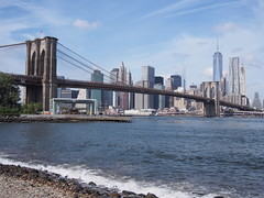 View of Brooklyn Bridge and Lower Manhattan from Pebble Beach (procrast8) Tags: world new york city nyc bridge ny beach brooklyn river one manhattan center east pebble lower trade