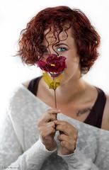 Smile, please :) (Chiara Mangiaracina) Tags: flowers portrait flower colors girl beautiful beauty smile fashion hair studio model eyes blueeyes makeup 85mm portraiture shooting sorriso redhair ritratto ragazza