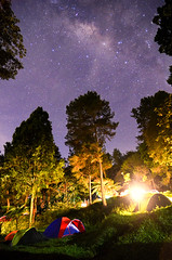 Milky Way at Mt Salak Sky (Vicky Ming Alditiara) Tags: longexposure camping camp sky tree lamp bulb night indonesia star nikon tokina1224 tent tokina galaxy slowshutter malam bogor milkyway pohon d7000 bimasakti
