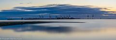 Deltaport-7 (Robert Henrickson) Tags: ocean longexposure sunset panorama reflection vancouver clouds tsawwassen shipyard deltaport beautifulbritishcolumbia explorebc