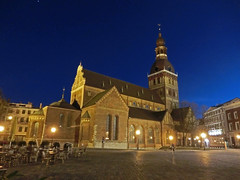 (Dudina18) Tags: night square lights cathedral latvia cobblestones dome riga