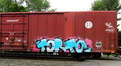 (timetomakethepasta) Tags: freight train graffiti bnsf boxcar torto toro