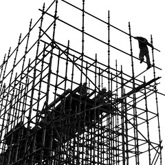 Homage to the hard-working ones (cresting_wave) Tags: china sky people monochrome blackwhite scaffolding beijing streetphotography silhouettes constructionworkers constructionsite mobileography mobilephotography iphonephotography iphoneography