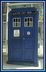 Salford Quays 20. TARDIS. jpg (Margaret Edge the bee girl) Tags: blue windows manchester box salfordquays indoors bbc drwho panels tardis programme mediacentre policecallbox