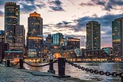 Boston waterfront (ronperry811) Tags: sunset seascape boston skyline night harbor